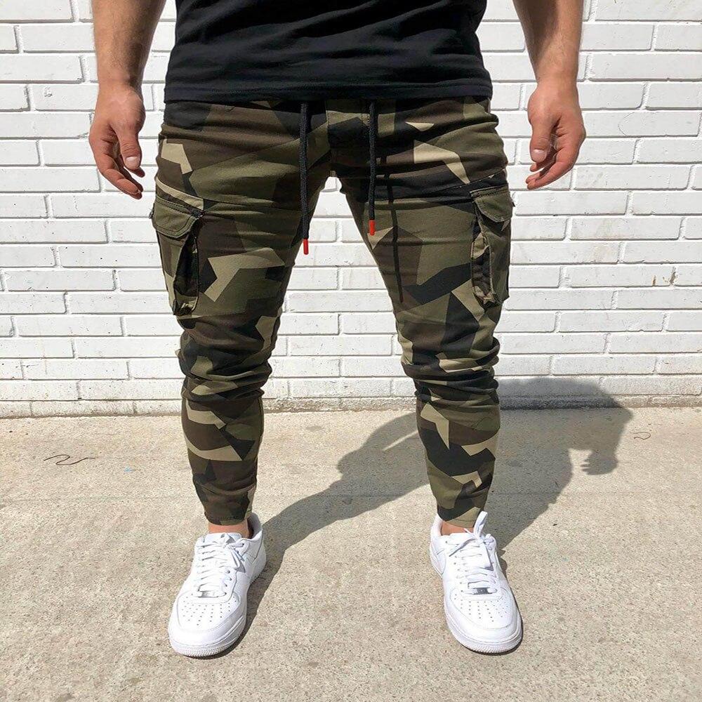Новинка 2021, камуфляжные брюки-карго, мужской спортивный костюм, штаны для бега с карманами, мужские облегающие спортивные брюки, модная спор...