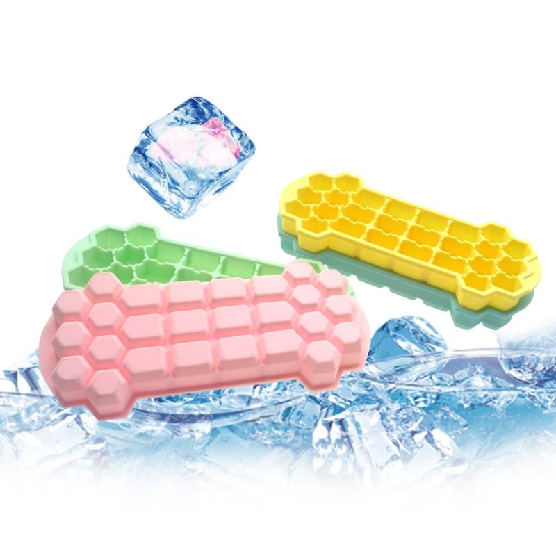 Molde de cubitos Ce de 26 cubitos, caja de hielo DIY con tapa, fabricante de hielo de silicona, fabricante de polos para el hogar, accesorios de barra de cocina