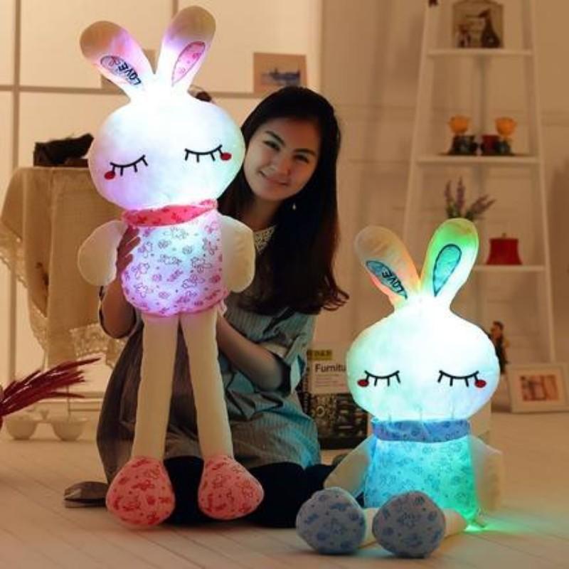 75CM Led Luminous Glowing Toy Light Up Plush Rabbit Doll Christmas New Year Birthday Gift For Kid Girlfriend Child WJ447