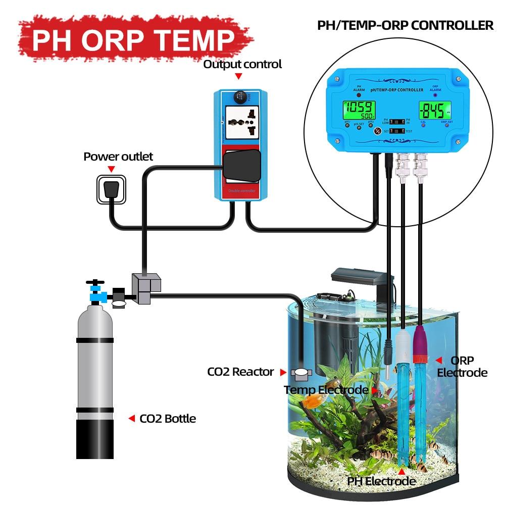 Controlador de Qualidade da Água Qualidade da Água Testador para Piscinas de Aquário Bnc tipo Sonda Medidor Temp Detector Água Potável ph ce Tds Orp