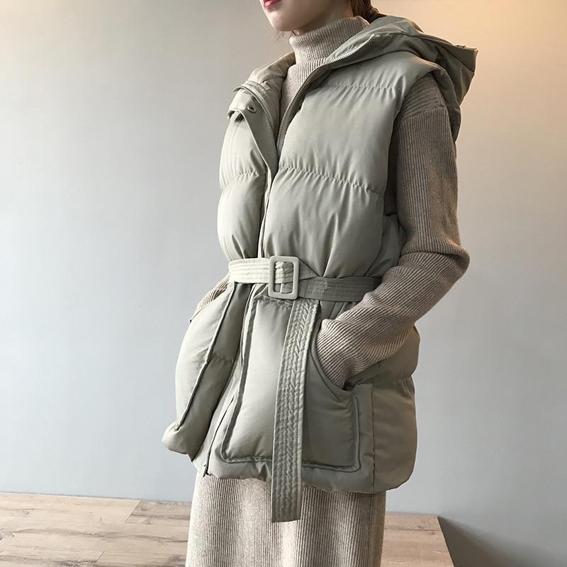 Зимний жилет с капюшоном, пальто для женщин, теплая тонкая хлопковая стеганая куртка, жилеты, корейская мода, куртка на молнии, женский жилет...