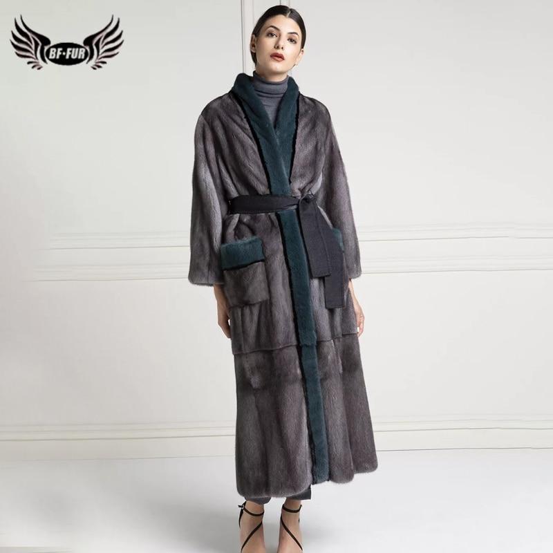 BFFUR-معطف طويل من فرو المنك الحقيقي 130 سنتيمتر للنساء ، مع حزام ، جاكيت فاخر ، شتوي روسي ، معاطف نسائية