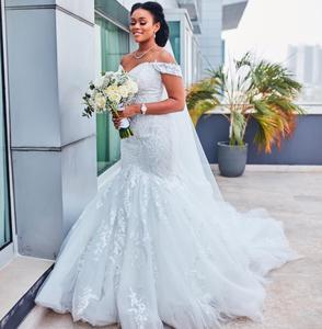 Gorgeous Mermaid Wedding Dresses Off The Shoulder Lace Appliques Sweep Train Country Wedding Dress Bridal Gowns Plus Size Robes