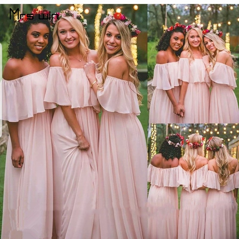 Mrs win Bridesmaid Dresses For Girls Chiffon Elegant Plus Size Wedding Party Dress HR238 Bohemia Long Off Shoulder Wedding Dress