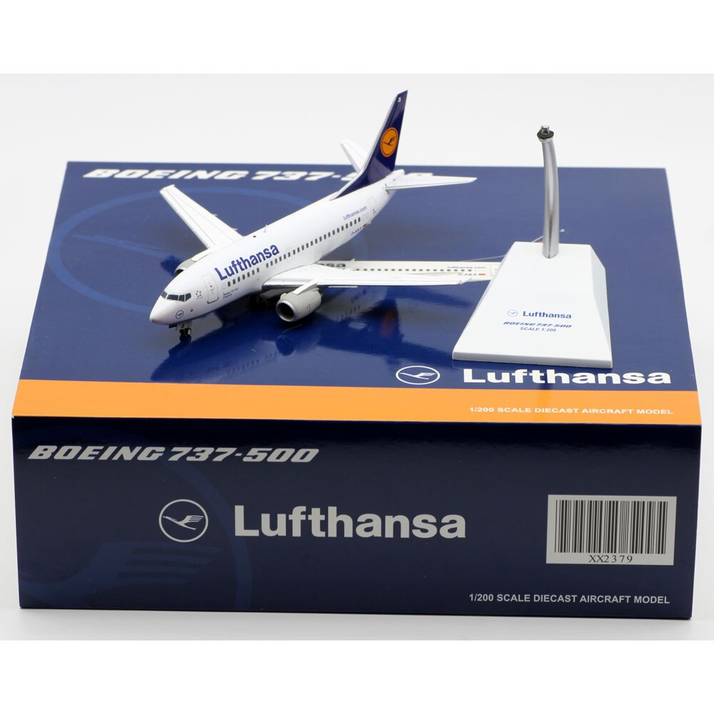 1:200 Alloy Collectible Plane JC Wings XX2379 Lufthansa Airlines Boeing B737-500 Diecast Aircraft Jet Model D-ABJI With Stand