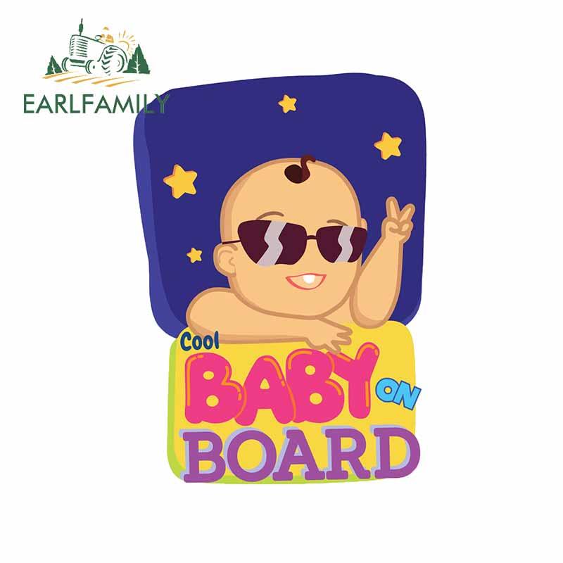 EARLFAMILY 13cm x 9,3 cm para bebé fresco a bordo gafas de sol VAN Car Stickers Laptop tabla de surf Deal Trunk RV decoración de la personalidad
