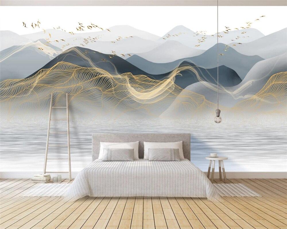 Обои на заказ Новый китайский стиль современный свет Роскошные абстрактные чернила пейзаж настенная живопись papier peint