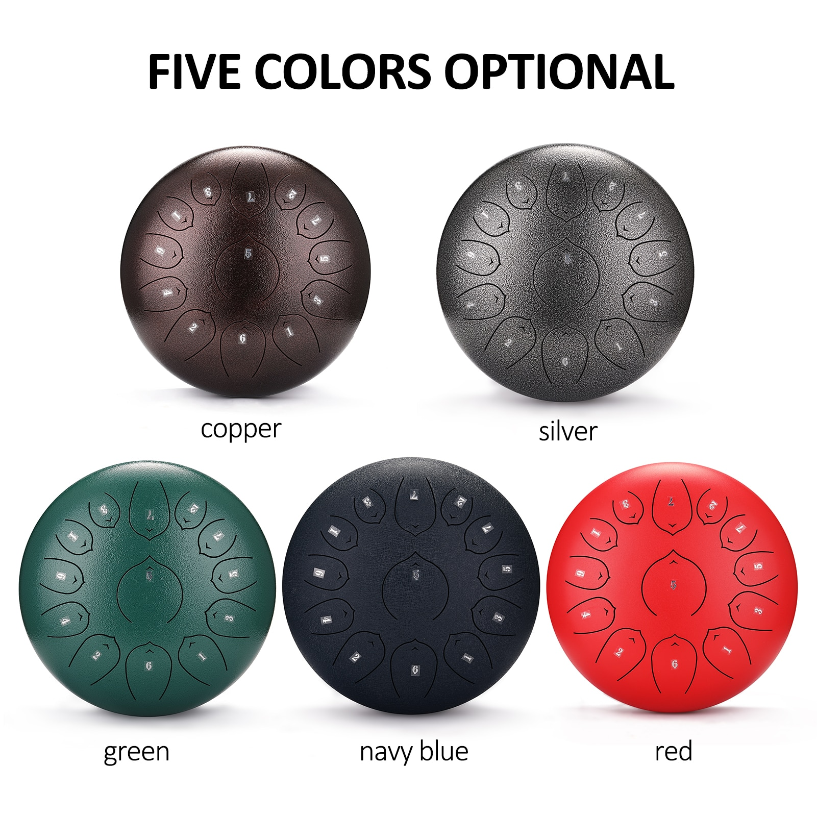 12 inch 13-Tone Steel Tongue Drum Mini Hand Pan Drums with Drumsticks Percussion Musical Instruments Drum Accessories enlarge