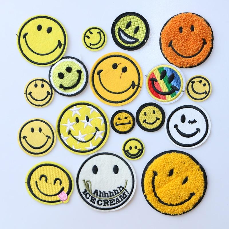 Smiley patch arc-en-ciel étoile icône brodé appliques patchs pour kawaii vêtements fer bricolage sur des Badges sur un sac à dos