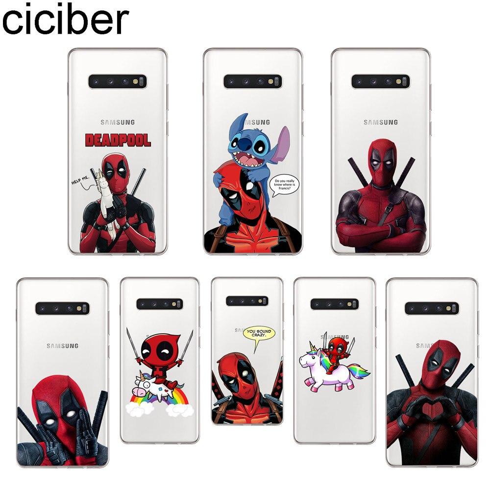 Ciciber Marvel Deadpool caso de teléfono para Samsung Galaxy S8 S9 S10 S5 S7 S6 S10 + S10e Lite Plus S5 mini suave TPU carcasa funda