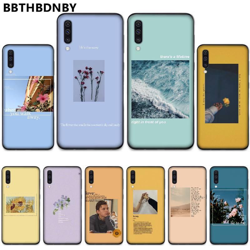 Azul estética letras de canciones suave negro de la cubierta del teléfono para Samsung A20 A30 30s A40 A7 2018 J2 J7 primer J4 más S5 Nota 9 10 Plus