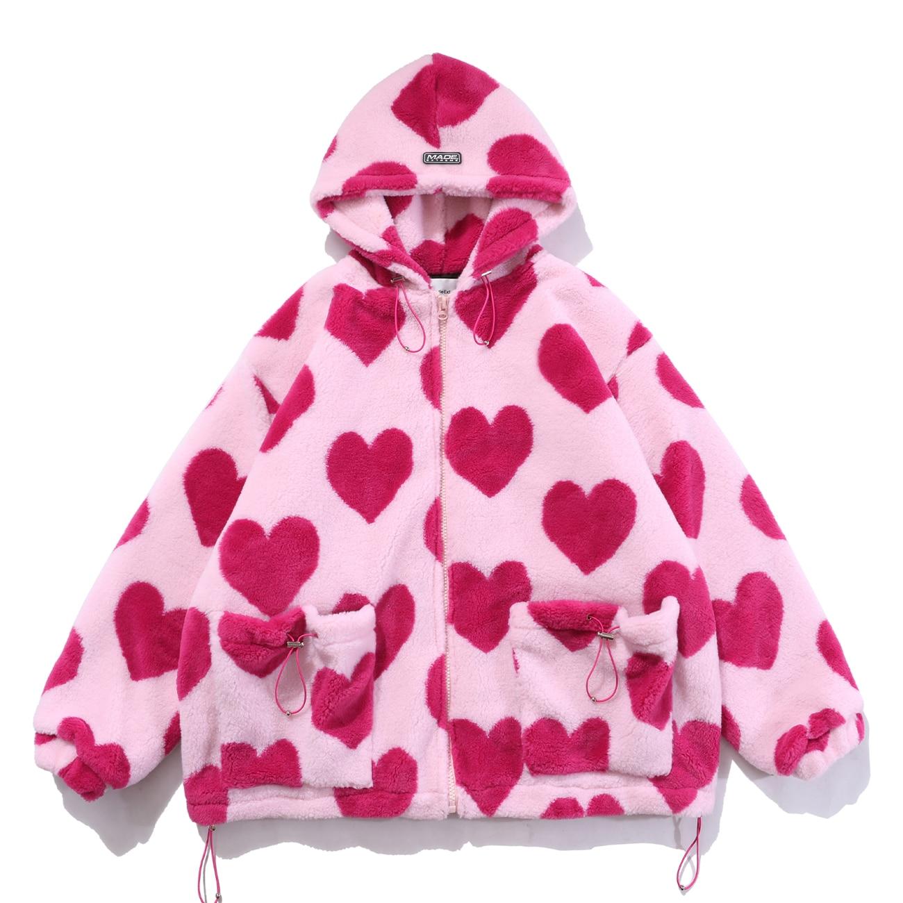 معطف شيربا موضة 2021 لعيد الحب مطبوع على شكل قلب سترة هيب هوب سميكة باركا امبسوول شتوي للرجال والنساء ملابس خروج خارجية فروي