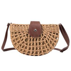 Straw Bag Handbags Women Summer Rattan Bag Buckle Messenger Bag Fashion Shoulder Bag Handmade Woven Beach Bag New