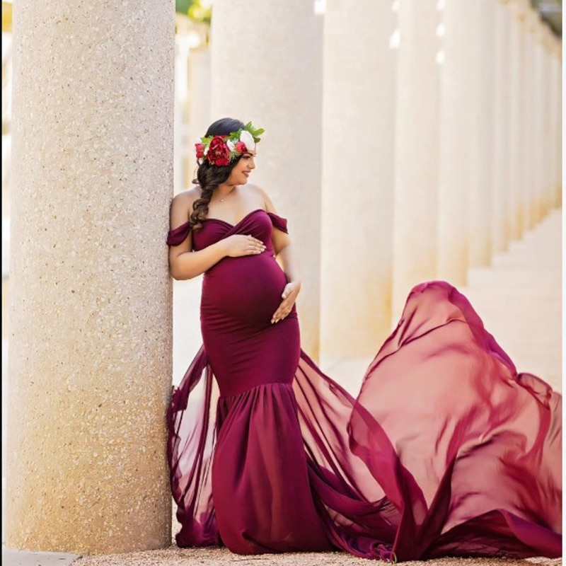 Pregnant Dress New Maternity Photography Props For Shooting Photo Pregnancy Clothes Cotton+Chiffon Off Shoulder Half Circle Gown enlarge