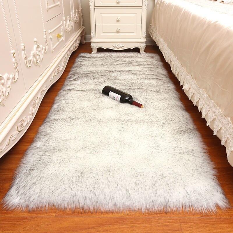لينة البساط حمام حصيرة سجادة غرفة النوم تقليد ضمادة صوف الشعر الطويل السرير حصيرة وسادة أريكة السجاد الأبيض غرفة المعيشة سجاد من الفراء