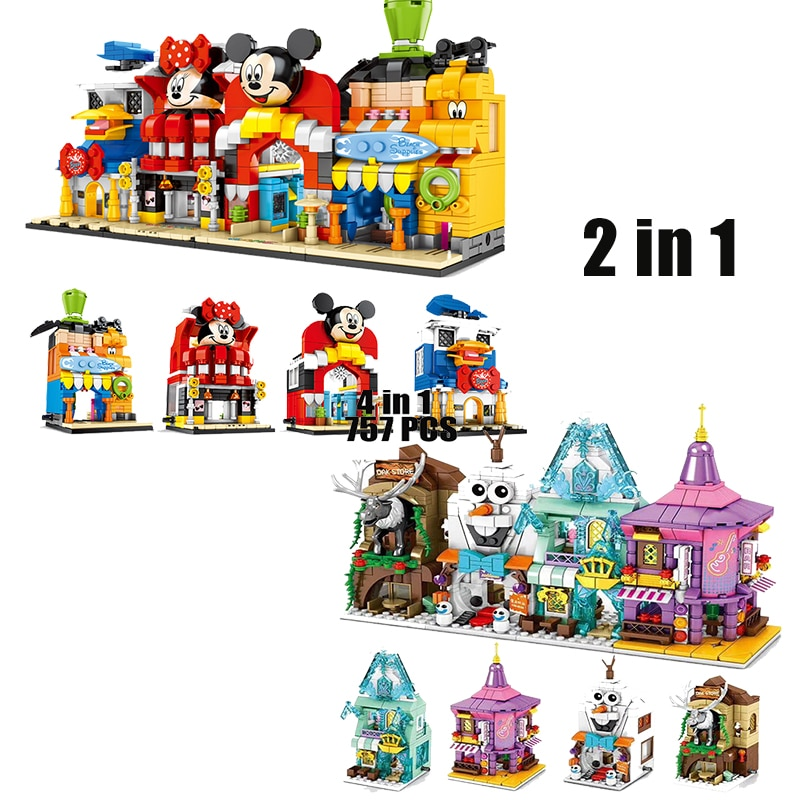 Новинка 2020, строительные блоки Disney, игрушки, 2шт, магазин Микки + Снежная принцесса, замок, уличный вид, модели, блоки для девочек и мальчиков, ...