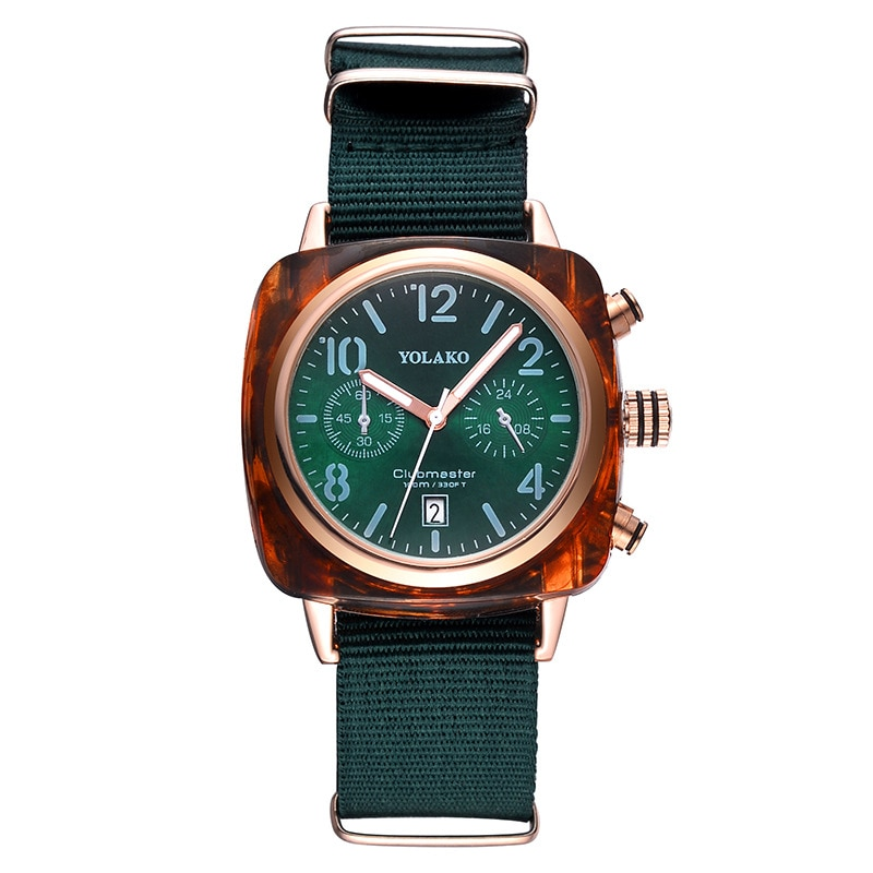Reloj cuadrado de lujo para mujer, pareja, moda, tendencia superior, reloj de cuarzo a prueba de agua, reloj verde para mujer