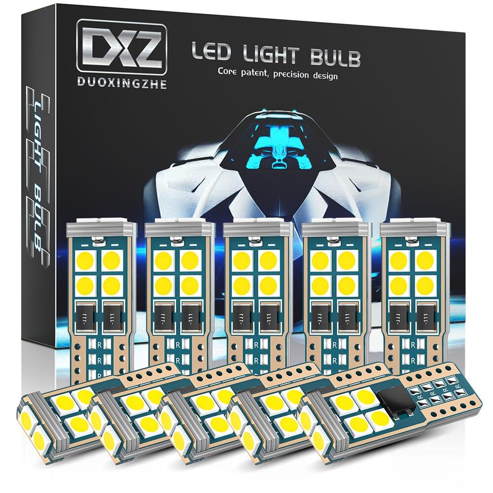 Светодиодсветодиодный лампы DXZ 10 шт., T10, W5W, 10-SMD, Canbus 168, 194, 6000K, 12 В, белые автомобильные купольные лампы для салона, габаритные огни, без ошибок