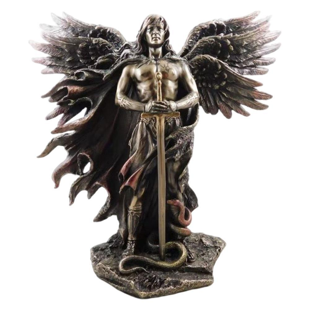 Bronzed Seraphim Six-winged Guardian Angel With Sword And Serpent Big Wing Angel Statue Resin Statues Home Decoration Ornament