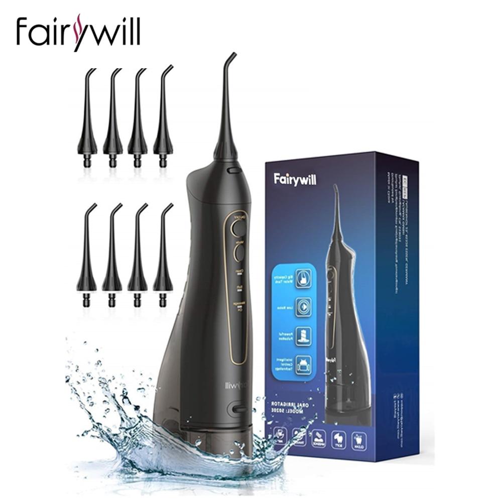 Fairywill-جهاز الري الفموي للأسنان ، طائرة مائية مع شاحن USB ، 3 أوضاع ، خزان 300 مللي ، مقاوم للماء IPX7 ، منظف الأسنان