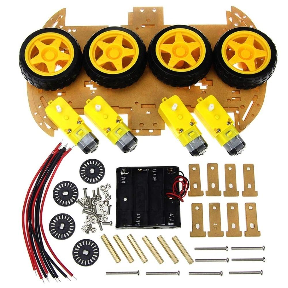 DC 3-6V TT motor 125 rpm 4WD Smart Robot Car Kit / Smart car wheels with Speed Encoder 4WD & Battery Box for Arduino DIY Kit