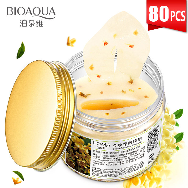 Bioaqua ouro osmanthus olho pathces 80 pçs máscara de garrafa para o rosto colágeno gel soro de leite proteína removedor de sono círculo escuro cuidados com os olhos