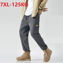 summer Men cargo pockets pants korea style elasticity pencil pants large size 6XL 7XL casual skatebo