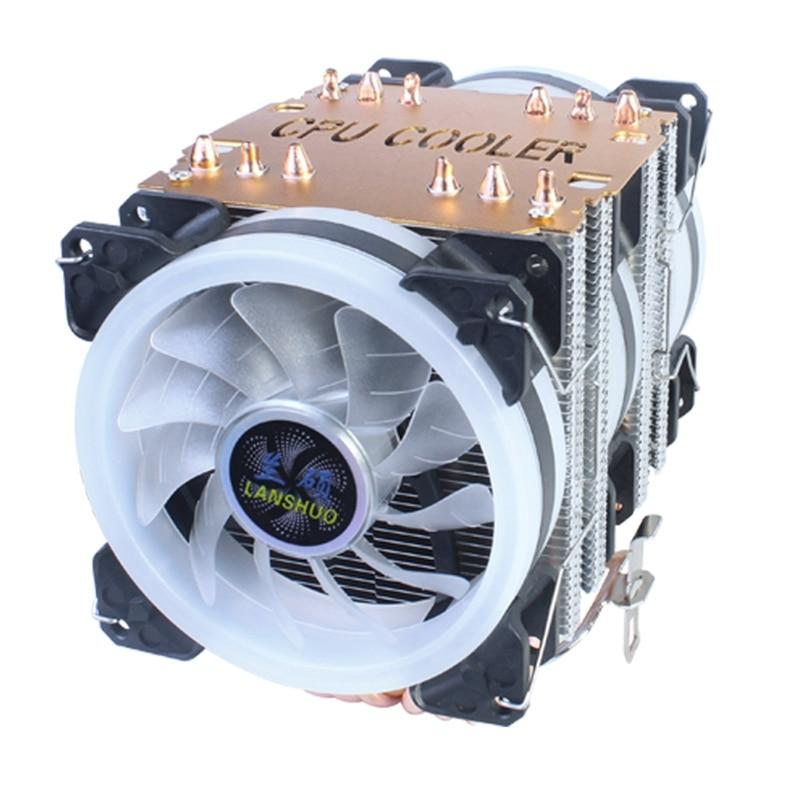 LANSHUO-المشتت الحراري لوحدة المعالجة المركزية ، 6 أنابيب نحاسية ، I3 ، I5 ، I7 ، I9 ، مروحة ، لوحة أم AMD3 ، AM4 ، 3 أسلاك ، ثلاثة مراوح ، أضواء أورورا الملو...