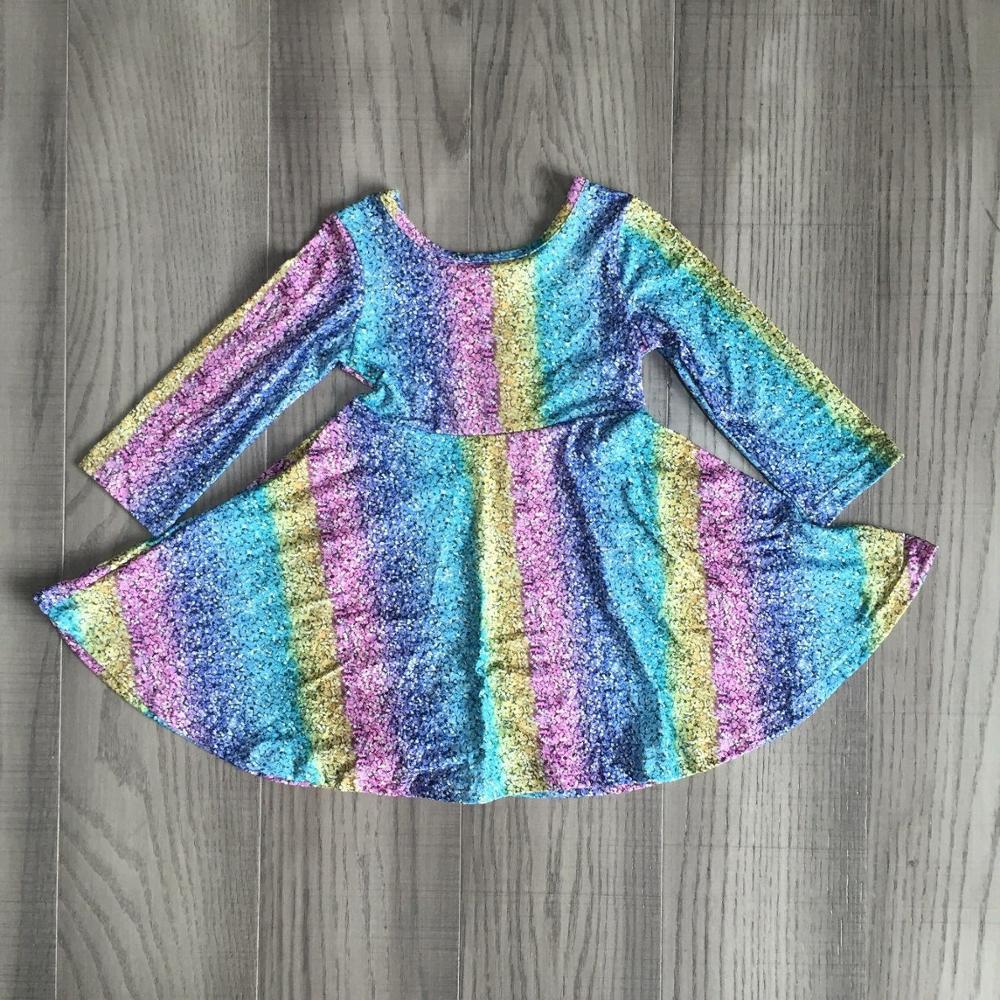 Bebê meninas outono inverno vestido meninas tie dye vestido crianças arco-íris vestido
