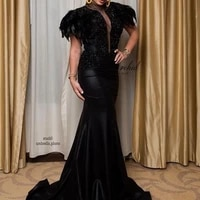 peorchid black mermaid prom evening dress with feathers beads african engagement dresses party gowns for womens new arrival 2020