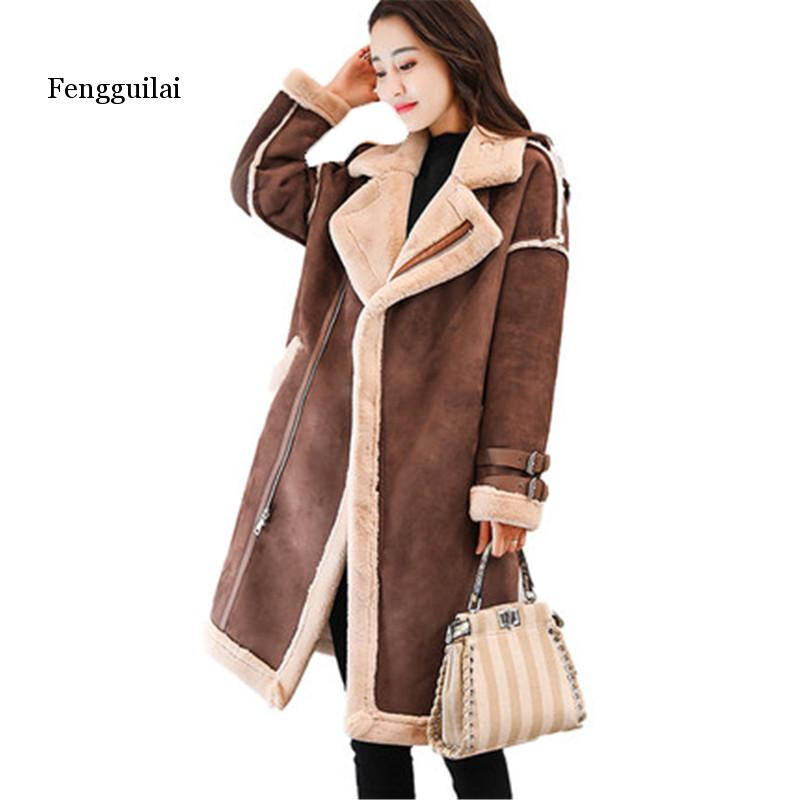 2020 Winter Female Suede Leather Jacket Women long Deerskin Wool Motorcycle Jacket Thick Lambs Wool Warm zip Parka Coat