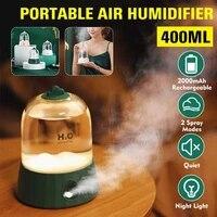 400ML Mini humidificateur dair 2 Modes USB sans fil Humidifier veilleuse arome diffuseur essentiel aromatherapie pour bureau maison