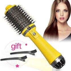 Dropshipping um passo secador de cabelo escova de ar quente alisador de cabelo pente curling brush salão de beleza ferramentas de estilo de cabelo secador de cabelo escova