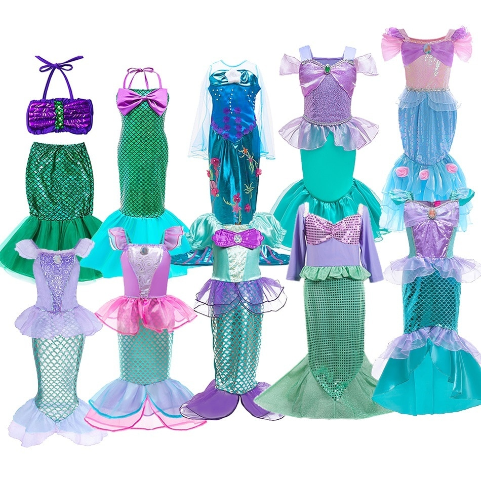AliExpress - Girls Little Mermaid Halloween Princess Costume Children Ariel Dress Kids Christmas Carnival Birthday Party Fancy Outfit Clothes