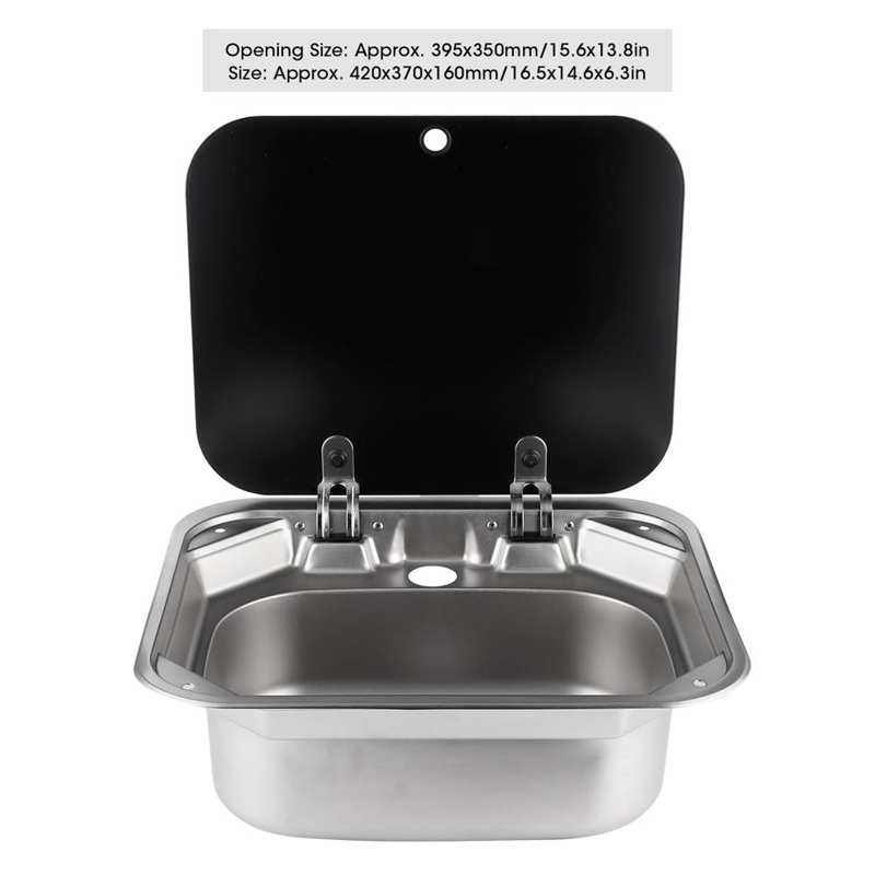 RV Caravan Boat Square Stainless Steel Hand Wash Basin Sink with Tempered Glass Lid Foldable Kitchen Single Basin for RV Caravan enlarge