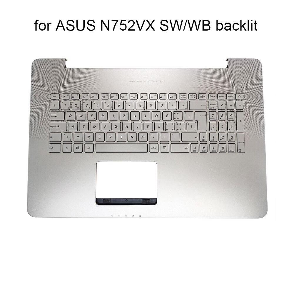 SW/WB Swiss Croatian laptop Backlit keyboard for Asus Vivobook N752 N752V N752VX pc keyboards topcase palmrest 662JSF00 662JWB00