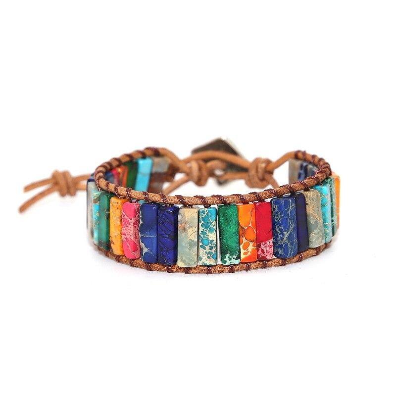Moda wrap pulseiras colorido natural pulseira de pedra para feminino estilo boêmio jóias acessório pulseira de couro transporte da gota