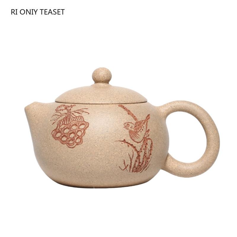 Yixing-إبريق شاي من الطين الأرجواني Yixing ، غلاية شاي Xishi كلاسيكية ، خام ، جمال ، صناعة يدوية ، هدية مخصصة ، 120 مللي