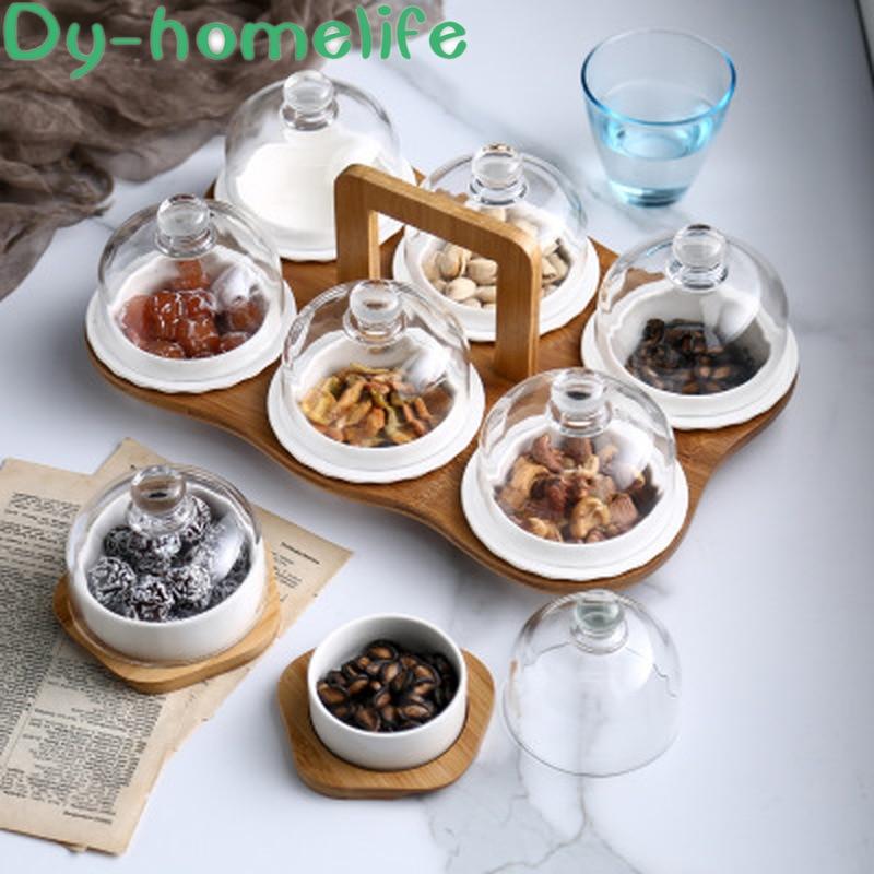 Nórdico con bambú y Base de madera cubierta de vidrio rejilla plato cerámico para fruta almacenamiento familiar Snack bandeja de almacenamiento para frutos secos