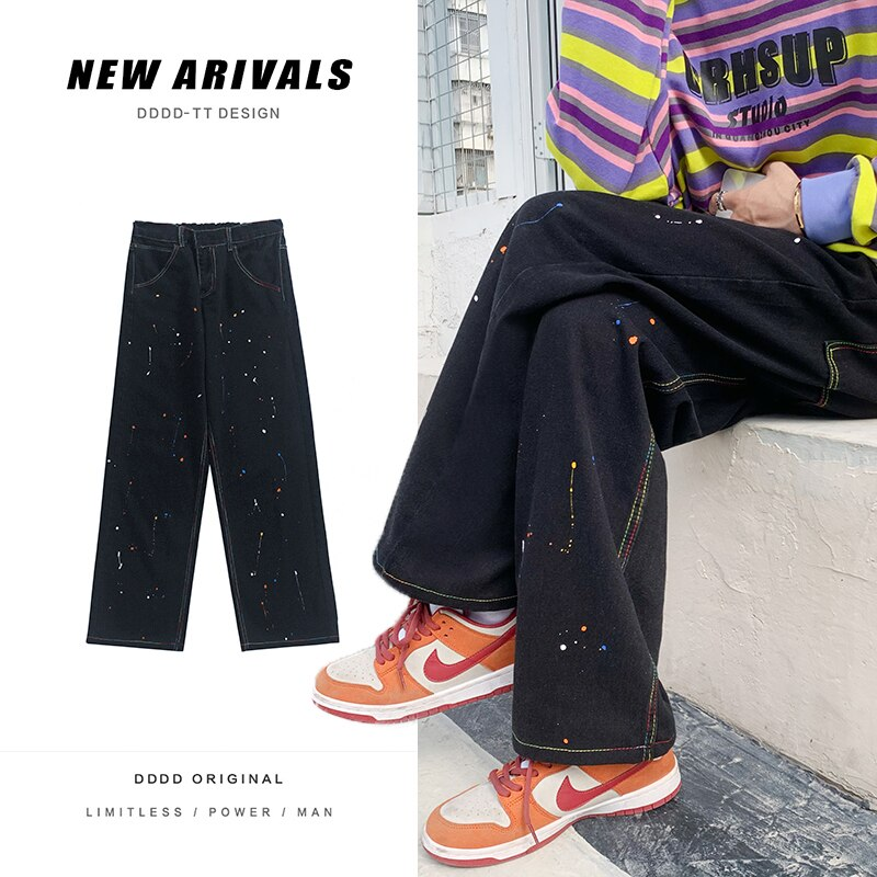 Мужские бриджи, новая уличная одежда, прямые джинсовые брюки, мужские повседневные брюки, парные мешковатые джинсы, джинсовые брюки, черные ...