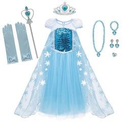 Muababy meninas elsa fantasiar-se fantasia manga curta o pescoço lantejoulas neve rainha princesa traje elza cosplay halloween vestido para menina