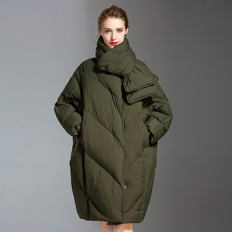 Women down coats luxury autumn winter warm fashion 90% white duck down Jackets Female lady long puffer hooded casual olive scarf