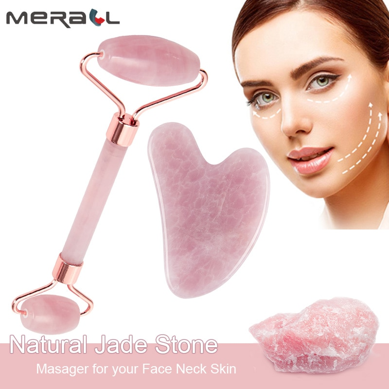 Rose Quartz Natural Jade Gouache Scraper for Face Neck Guasha Massage Roller Skin Lifting Slimming Wrinkle Remover Massager Tool