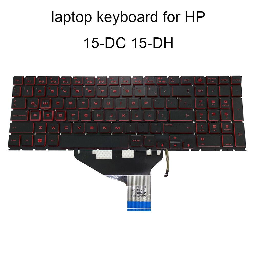 Teclado retroiluminado 15-DC, teclados de repuesto para HP OMEN 15-DC0153TX 15-DH LA Latin SP negro KB teclas Rojas NSK-XP1LN a estrenar