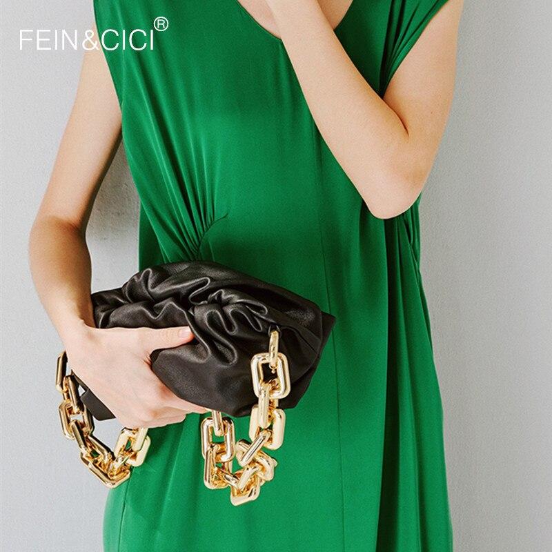 Thick gold chain designer shoulder bag dumpling Clip purse bag women cloud Underarm clutch pleated Baguette pouch tote handbag