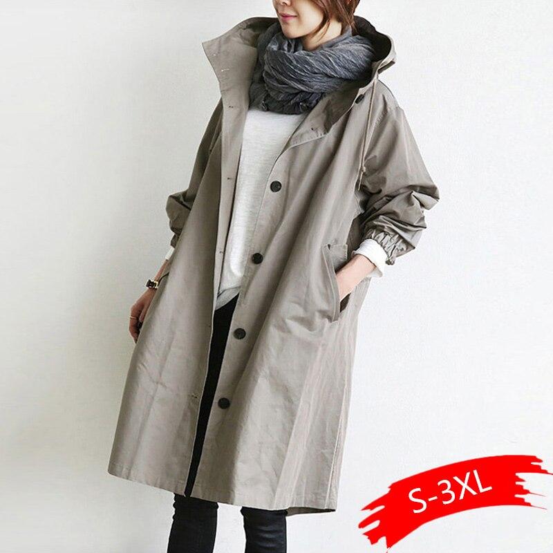 Novedad 2020, cazadora Casual de Color liso con capucha de cuello coreano, gabardina holgada de otoño e invierno para mujer, abrigos sencillos de talla grande para mujer