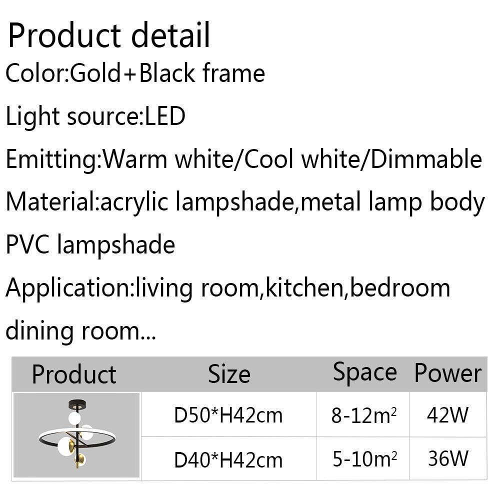 Acrylic Modern Led Chandelier For Living room Bedroom Dining room Black Lustre Metal Indoor Ceiling Chandelier Lamp Luminaries