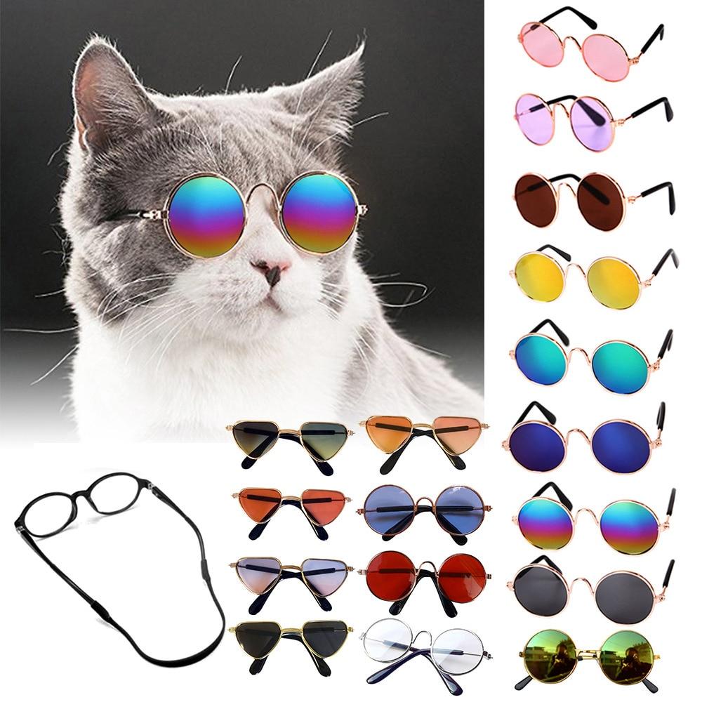 Солнцезащитные очки для собак, красивые винтажные круглые очки для отражения глаз, очки для маленьких собак, кошек, фото, реквизит, аксессуа...