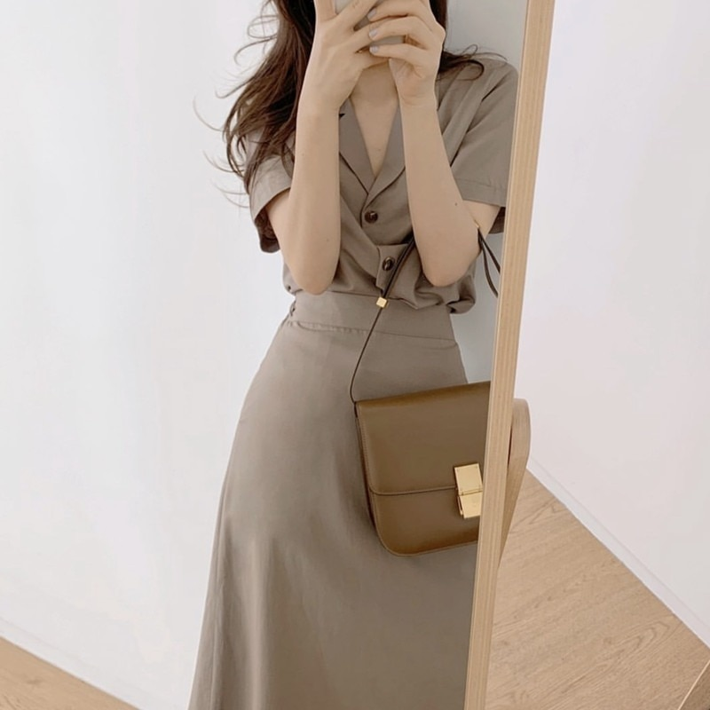 Office Lady Commute Skirt Two Piece Women Set Short Sleeve Single Breasted Turn Down Collar Top and High Waist A-line Skirt Suit