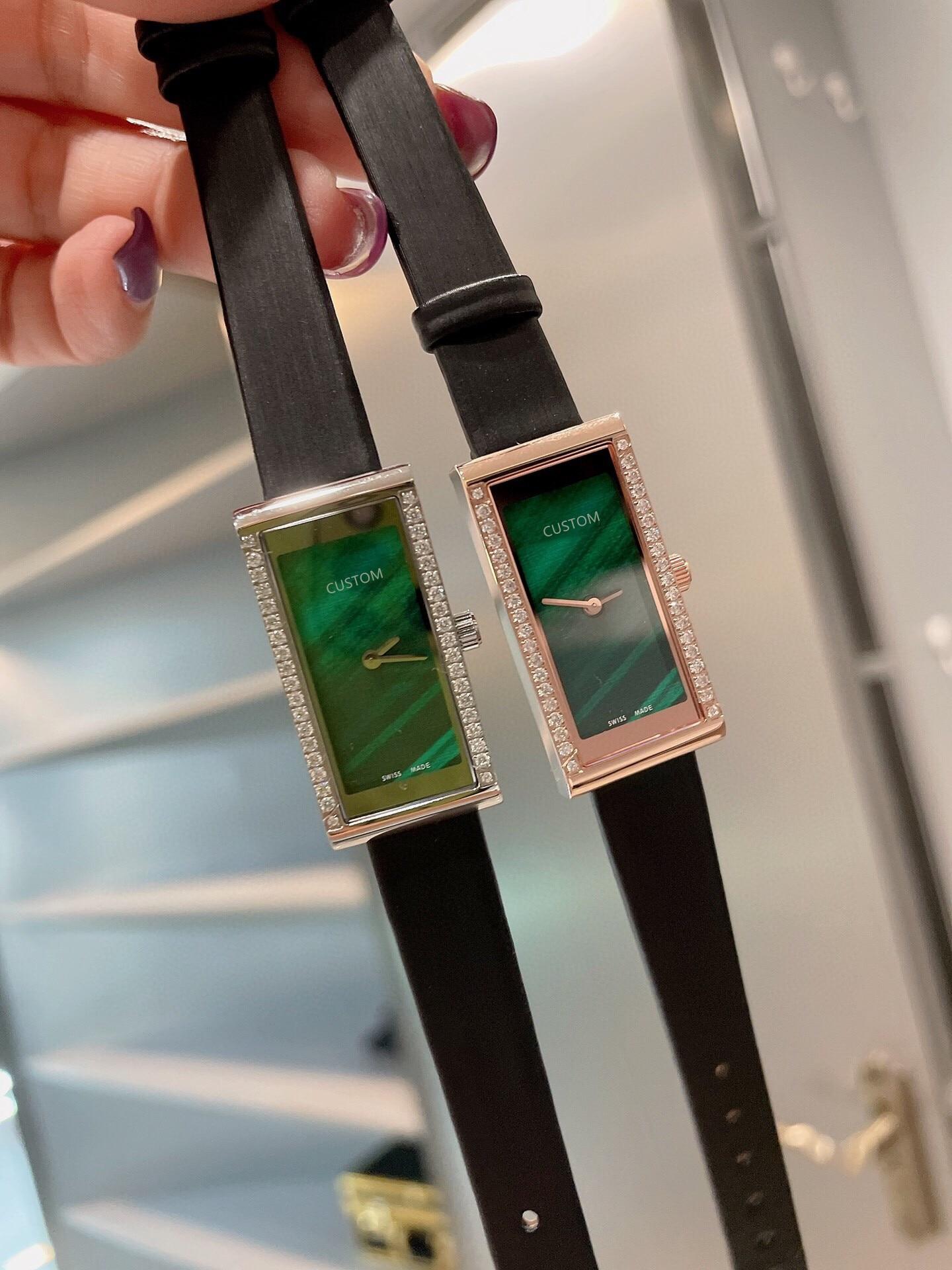 Casual Women Rose Gold Geometric rectangular Watches Black Leather Quartz watch Female Stainless Steel Diamond Clock 36mm